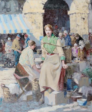 William Lee Hankey (British, 1869-1952) French market 61 x 50.8 cm. (24 x 20 in.)
