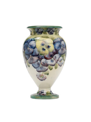 William Moorcroft 'Pansy' an early baluster Vase, circa 1915