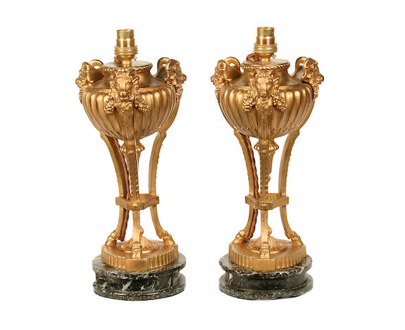 A pair of late 19th century gilt bronze and Verde Antico urns later adapted as lamp basesin the Louis XVI taste