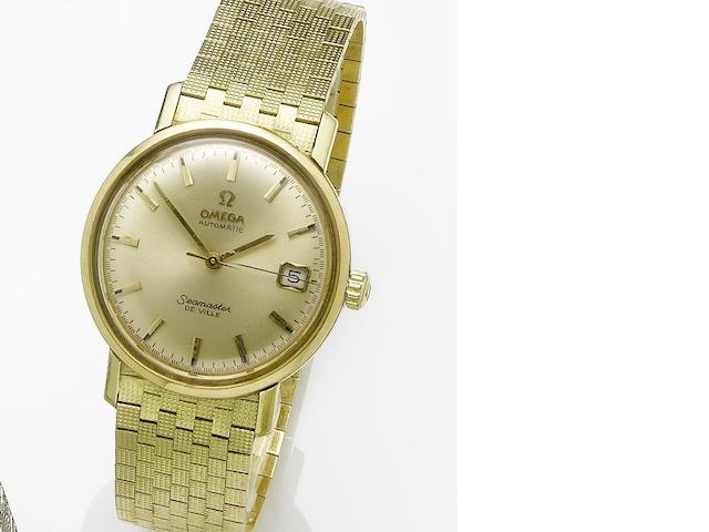 Omega. An 18ct gold automatic calendar centre seconds bracelet watch