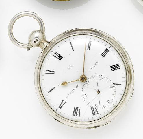 James Hatton. An early 19th century silver open faced chronometer pocket watchHallmarked for 1815, dial and movement numbered 465