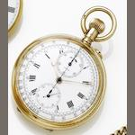 Swiss. A late 19th century 9ct gold manual wind open faced chronograph pocket watch London hallmarked for 1862
