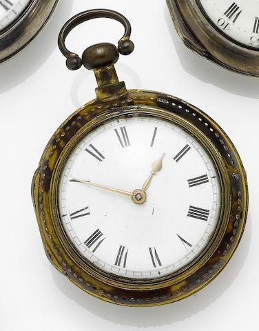 Thomas Mudge. An 18th century gilt metal pair cased pocket watch Movement number 585, London hallmarked for 1762 ??