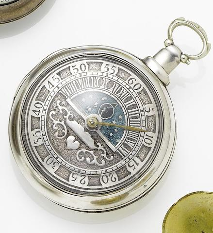Thomas Robinson. A 19th century silver pair case pocket watch with champleve dialMovement number 1883, London hallmark for 1811