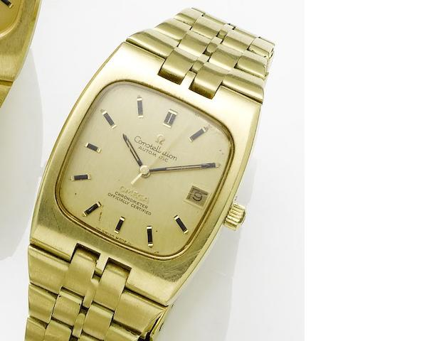 Omega. An 18ct gold automatic centre seconds calendar bracelet watch Constellation, Sold 2nd August 1973