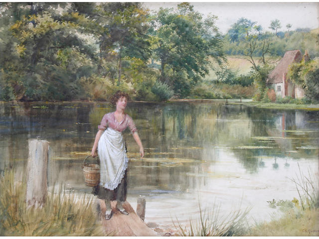 George Goodwin Kilburne, RI, RBA (British, 1839-1924) 'Fetching Water',
