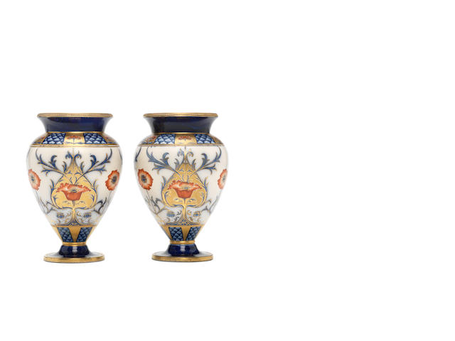 William Moorcroft, attributed for Macintyre  'Aurelian' a pair of baluster Vases, circa 1900