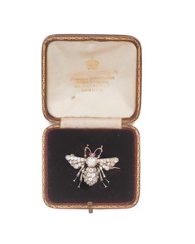 A late 19th century diamond bee brooch,