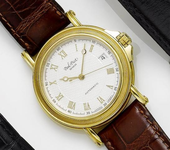 Paul Picot. An 18ct gold automatic calendar centre seconds wristwatch