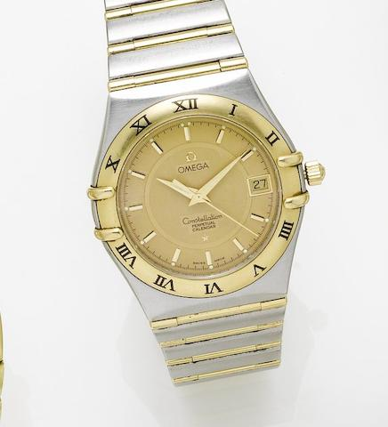 Omega. A stainless steel and gold quartz calendar centre seconds bracelet watchConstellation, 1990's