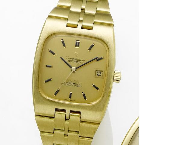 Omega. An 18ct gold automatic centre seconds calendar bracelet watch Constellation, 1970's