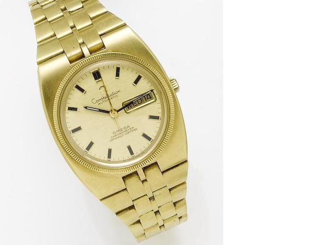 Omega. An 18ct gold automatic calendar bracelet watchConstellation, 1970's