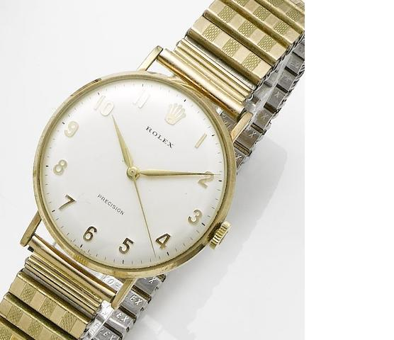 Rolex. A 9ct gold manual wind centre seconds bracelet watchEdinburgh hallmark for 1968