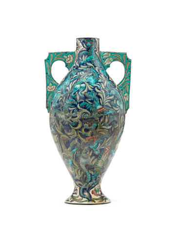 Charles Passenger for William De Morgan An important and monumental Exhibition quality Vase, circa 1890
