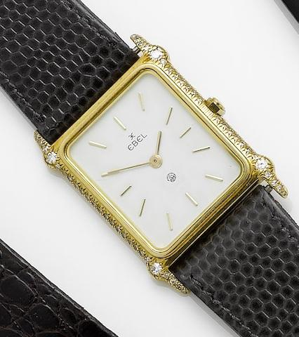 Ebel. A lady's 18ct gold diamond set wristwatch