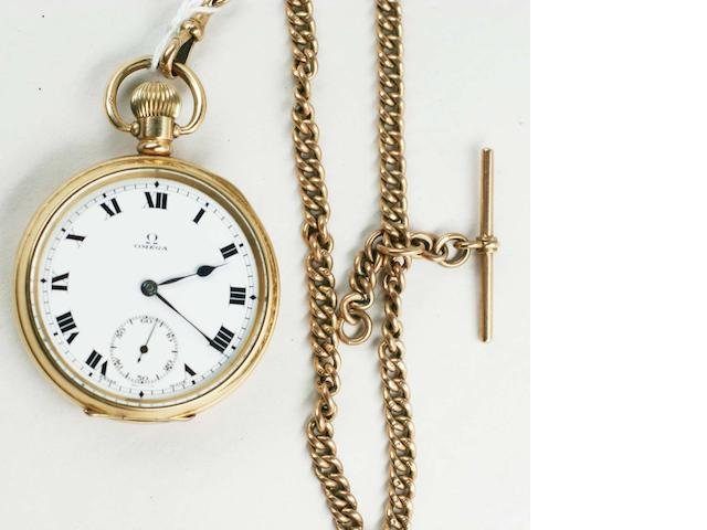Omega: A gold-plated open face pocket watch, 2