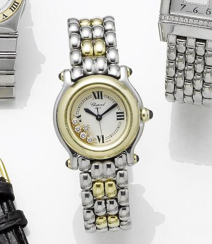 Chopard. A lady's steel and gold quartz bracelet watch with 'floating diamonds' Happy sport, 1990's