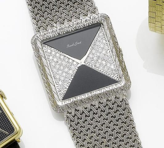 Beuche Girod. An 18ct gold diamond set bracelet watch