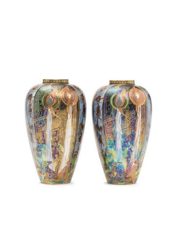 Daisy Makeig Jones  'Candlemas' a pair of Fairyland lustre Malfrey Pots (shape 2311), circa 1925