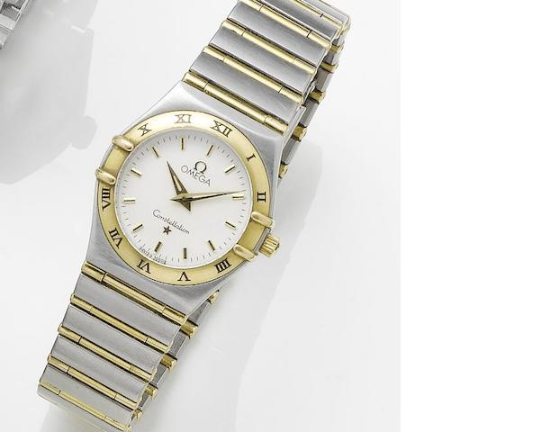 Omega. A lady's stainless steel and gold quartz bracelet watchConstellation, 1990's