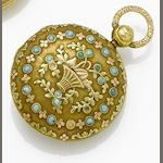 Swiss. An early 19th century continental gold and turquoise set fob watch