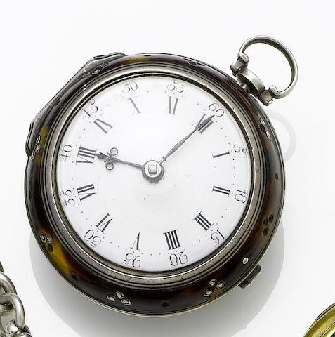 George Parker. A late 18th century gilt metal and tortoiseshell pair cased pocket watch