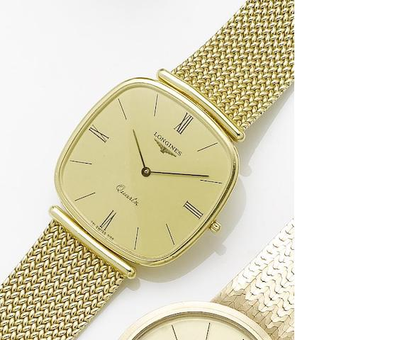 Longines. An 18ct gold quartz bracelet watch