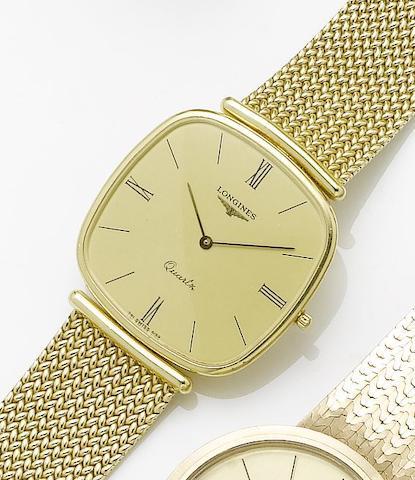 Longines. An 18ct gold quartz bracelet watch