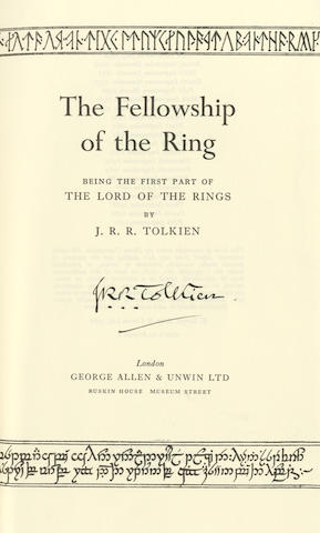 TOLKIEN (J.R.R.) The Fellowship of the Ring; The Two Towers; The Return of the King [The Lord of the Rings], 3 vol., SIGNED BY THE AUTHOR IN EACH VOLUME