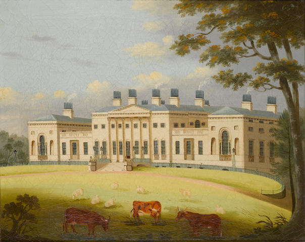 English Naive School, 19th Century View of Harewood House, Yorkshire
