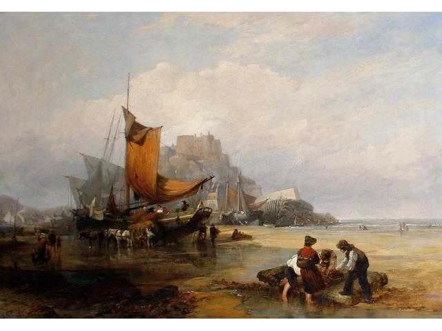 English School, 19th Century Fisherfolk on the beach