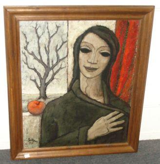 Jorge Soteras (Spanish, 1917-1990) A figure before a window with apple, signed, and dated (19) 57, oil on canvas, inscribed address verso, 63 x 54cm.