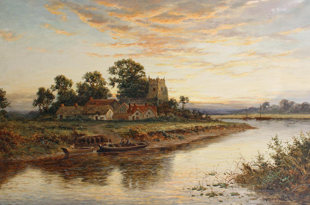 Charles Leader (British, late 19th/early 20th Century) Sunset on the river