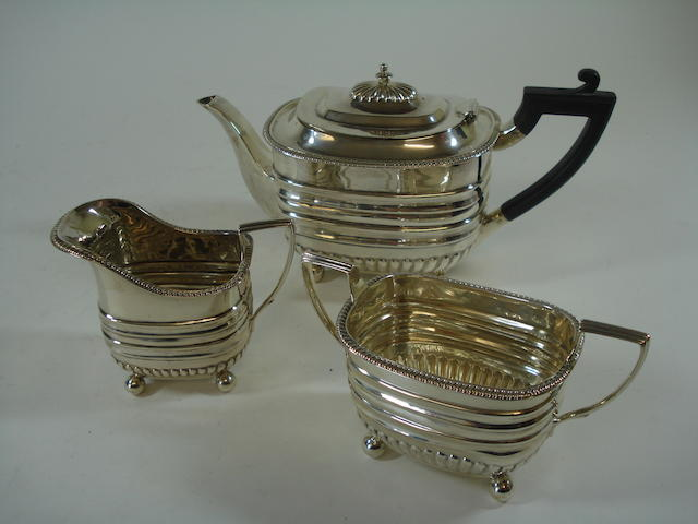 A bachelor's three piece tea service Maker's mark JR, London 1895
