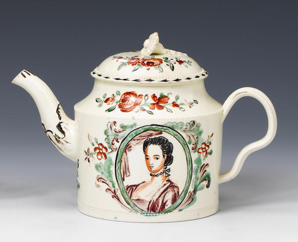 A William Greatbatch creamware teapot and cover circa 1770-82