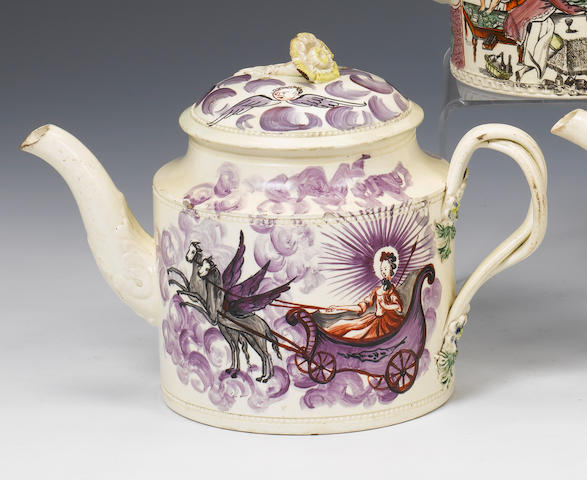 A rare William Greatbatch creamware teapot and cover circa 1770-82