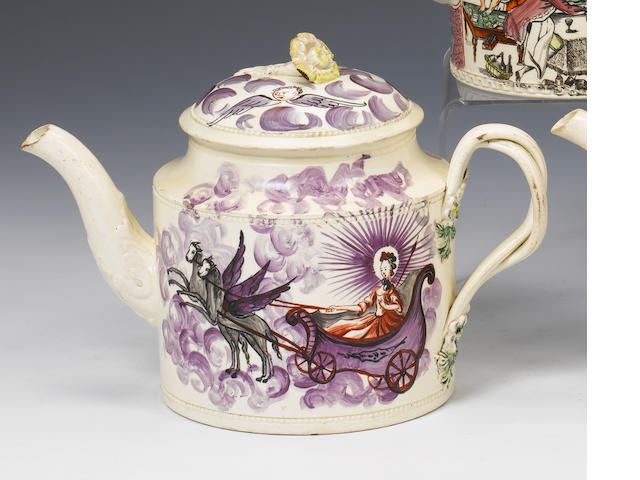A William Greatbatch creamware teapot and cover circa 1775