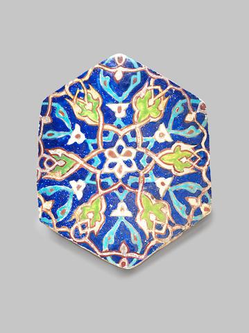 A Timurid cuerda-seca pottery Tile, Persia, 15th Century