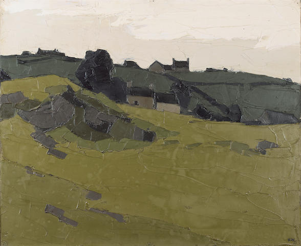 Sir Kyffin Williams, R.A. (British, 1918-2006) Cottages in a landscape 51 x 61 cm. (19 3/4 x 24 in.)