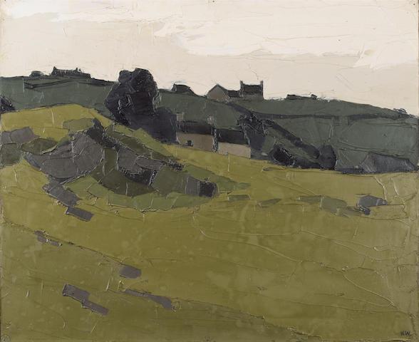 Sir Kyffin Williams, R.A. (British, 1918-2006) Cottages in a landscape 51 x 61 cm. (20 x 24 in.)