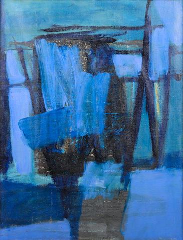 Trevor Bell (British, born 1930) Movements of Blue 115 x 88.5 cm. (45 1/4 x 34 3/4 in.)
