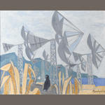 Julian Trevelyan, R.A. (British, 1910-1988) Cretan windmills 60.5 x 76 cm. (24 x 30 in.)