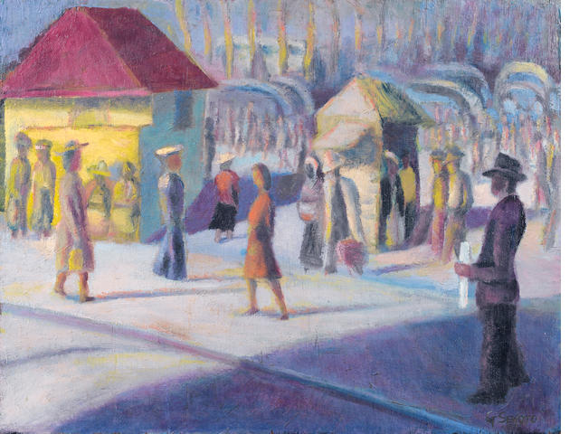 Gerard Sekoto (South African, 1913-1993) City street scene unframed