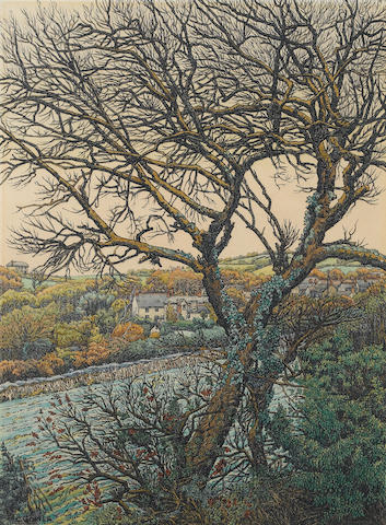 Charles Ginner (French/British, 1878-1952) Houses in a Valley 39 x 28.5 cm. (15 3/8 x 11 1/4 in.)