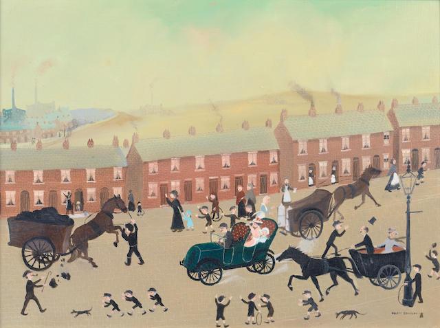 Helen Bradley (British, 1900-1979) Industrial Street Scene 24.5 x 59 cm. (17 1/4 x 23 1/4 in.)
