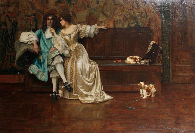 Rowland Holyoake (British, exh.1880-1911) Charles II and Nell Gwyn