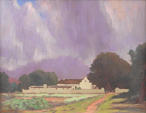 Jacob Hendrik Pierneef (South African, 1886-1957) Summer rain over a Cape farmhouse