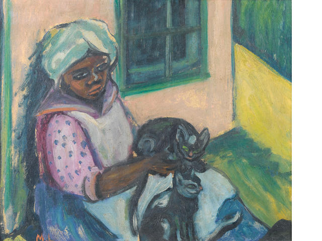 "Maria Magdalena (""Maggie"") Laubser (South African, 1886-1973) Woman seated with two cats"