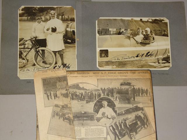 Two signed photographs depicting S.F. Edge's 24 hour run aboard a Spyker at Brooklands,