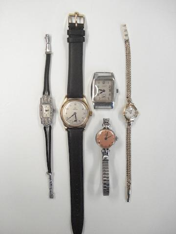 A lot of five various wristwatches